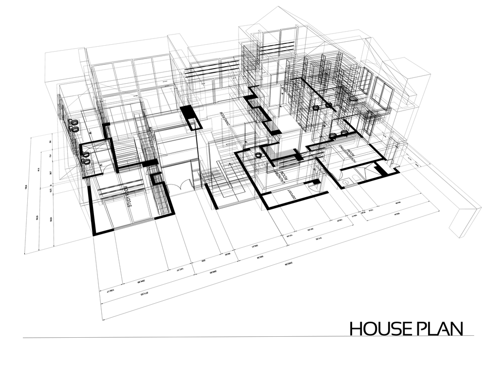 House wire blueprint - isolated over a white background